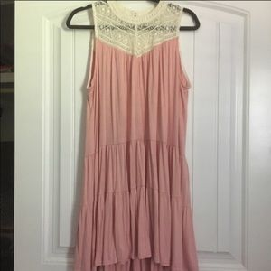 Umgee light pink dress with lace detail NWOT